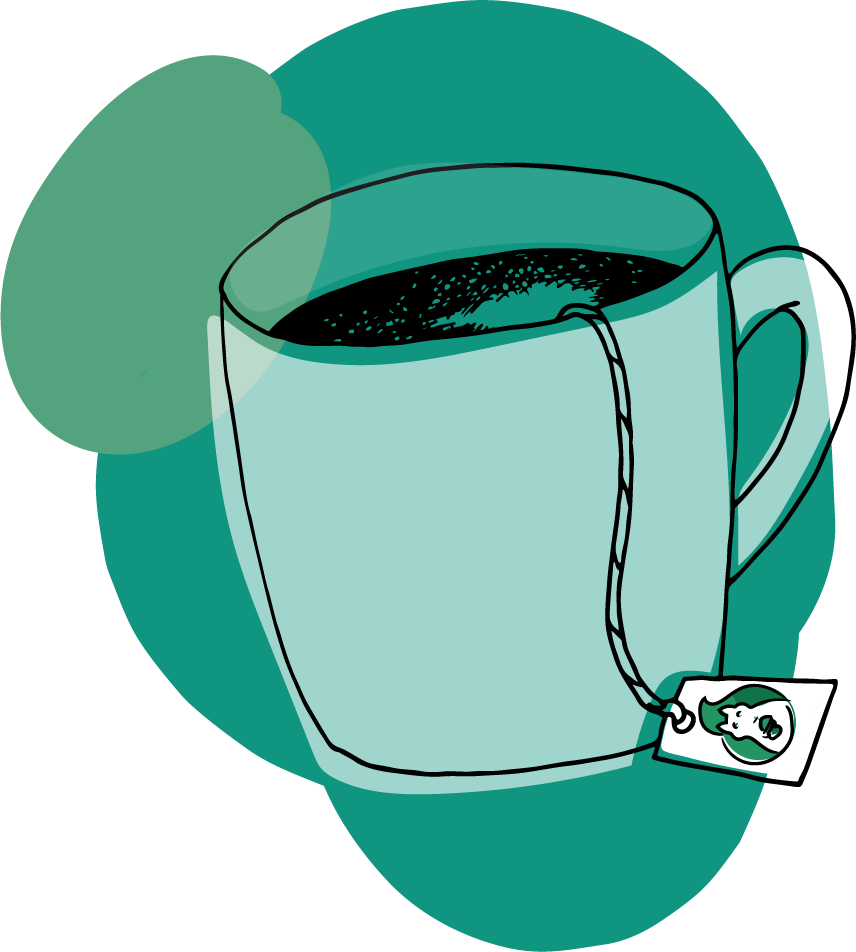 A green coffee cup with a Green Squirrel label