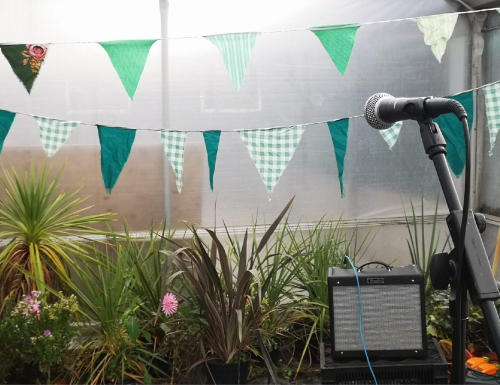 A microphone and amp are set up infront of plants and green bunting.