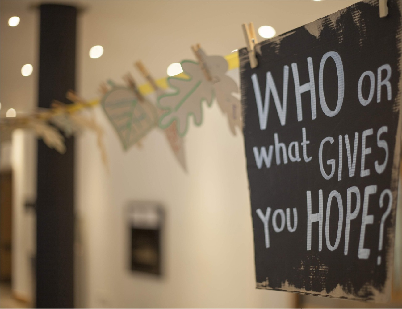 A handwritten sign read 'Who or what gives you hope?'