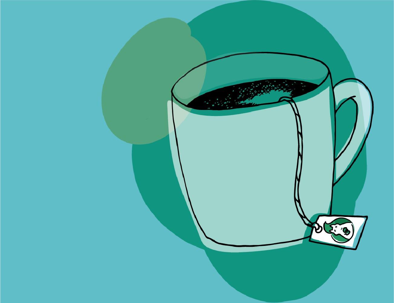 An illustrated mug of tea with a Green Squirrel tea bag tag.