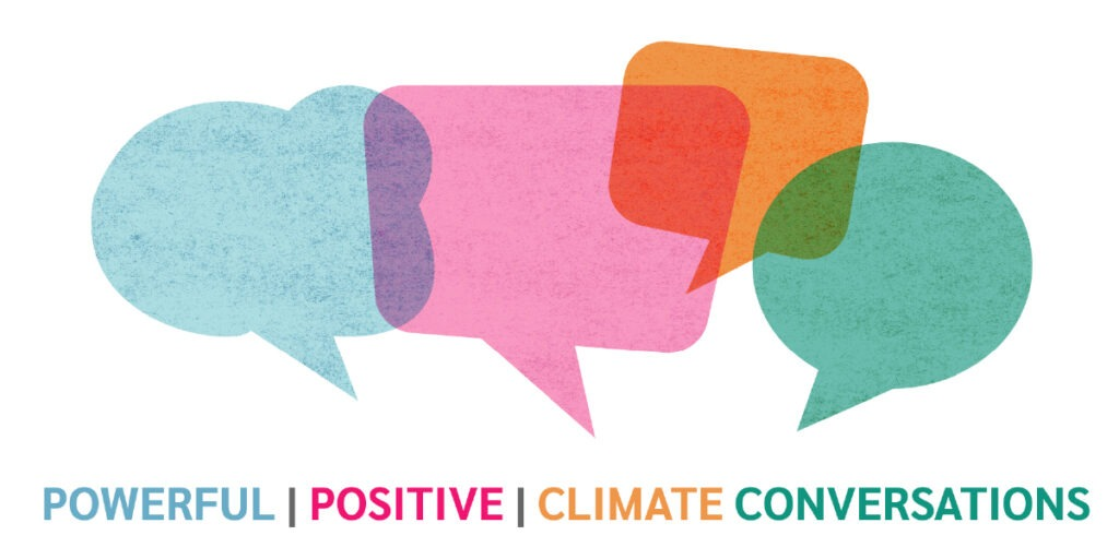Banner with colourful speech bubbles and the text 'powerful, positive climate conversations'