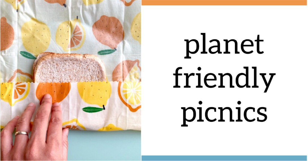 A hand wrapping a sandwich in a brightly patterned wax wrap with the text 'planet friendly picnics'