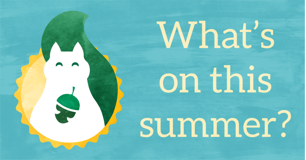 The Green Squirrel logo incorporating a sun and text reading 'What's on this summer?'