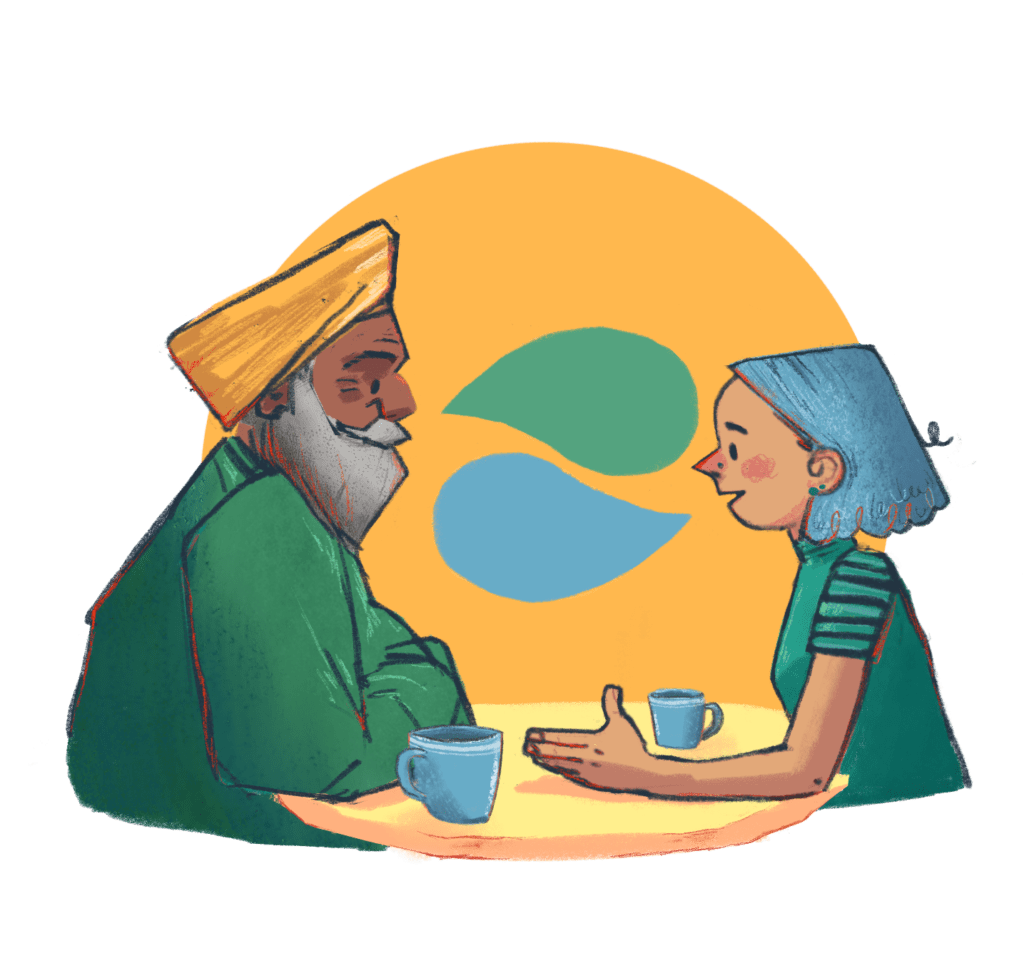 An illustration of a middle aged man wearing a turban and and a young woman with blue hair talking over cups of coffee