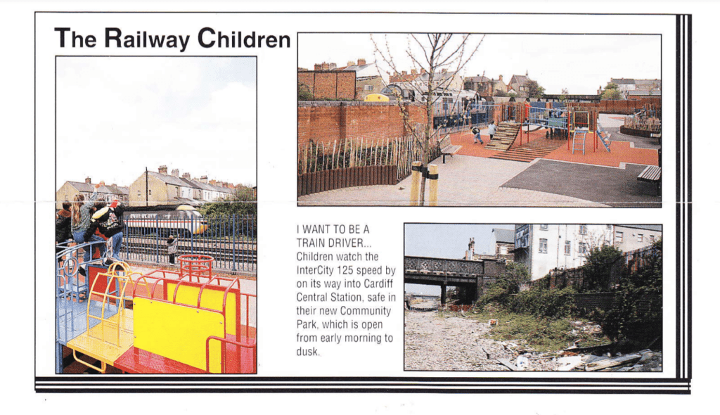 A clipping from a 1992 leaflet titled 'The Railway Children' showing before and after pictures of the new children's playground.