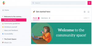 A screenshot of The Something Club community space